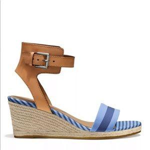 Coach Espadrille Stripe Sandal leather ankle strap